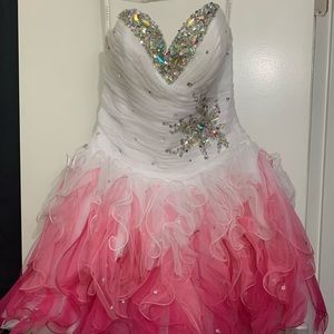 Strapless Pink and White Prom/Homecoming Dress